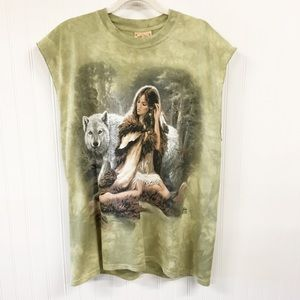 The Mountain   Native American Indian & Wolf Tee